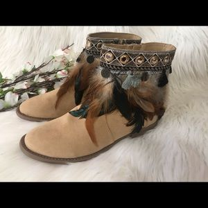 Dream Catcher Feather Ankle Bootie